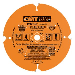 CMT 236.004.07 ITK PLUS Diamond Saw Blade for Fiber Cement Products, 7-1/4-Inch x 4 Trapezoidal Teeth with 5/8-Inch<>Bore, PTFE Coating