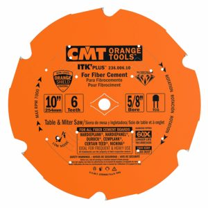 CMT 236.006.10 ITK PLUS Diamond Saw Blade for Fiber Cement Products, 10-Inch x 6 Trapezoidal Teeth with 5/8-Inch Bore, PTFE Coating